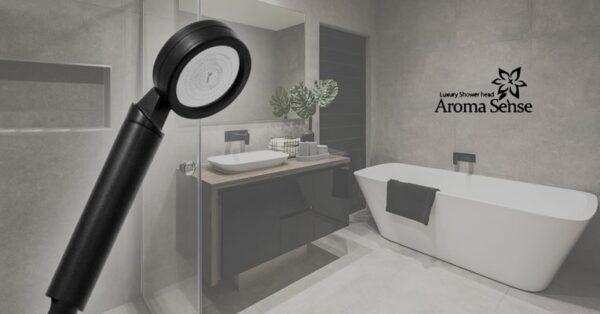 Aroma Sense AS-9000RB musta suihku harmaassa kylpyhuoneessa