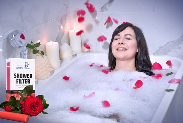Rose Aromatherapy with Aroma Sense high pressure shower head